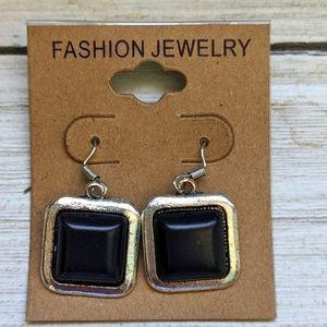 Boho Festival Black Antique Square Stone Earrings